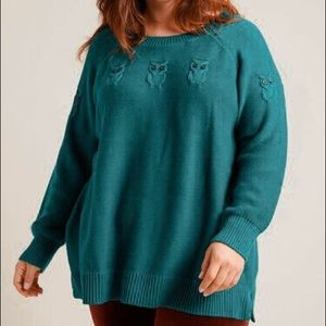 ModCloth Green Blue Owl Accent Sweater